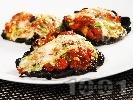 Рецепта Пълнени гъби Портобело без месо с домати, чесън, босилек и сирене Бри